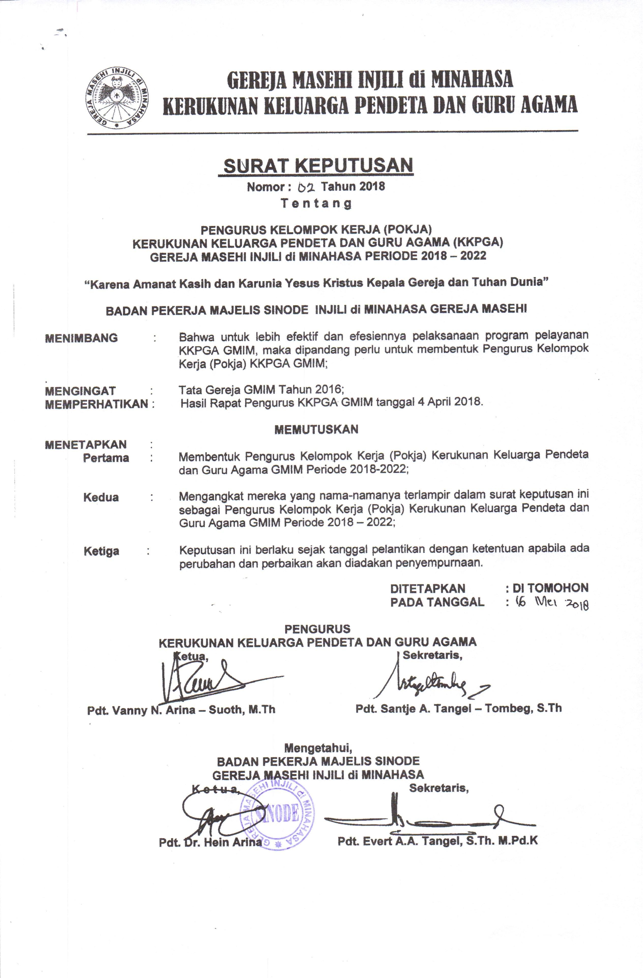 Surat Keputusan Tentang Pengurus Kelompok Kerja Pokja